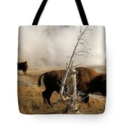 Steaming Bison Tote Bag