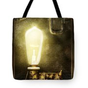 Steampunk - Alphabet - L Is For Light Bulb Tote Bag