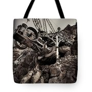 Steampunk Land Boring Machine At Disneysea Black And White Tote Bag