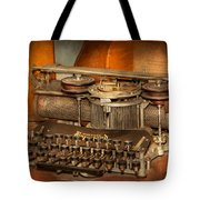 Steampunk - The History Of Typing Tote Bag by Mike Savad