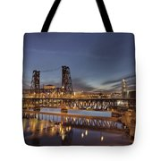 Steel Bridge Over Willamette River At Blue Hour Tote Bag