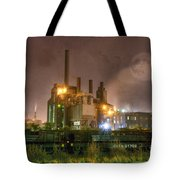 Steel Mill At Night Tote Bag