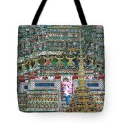 Steep Stairs Lead To Higher Level Of Temple Of The Dawn-wat Arun In Bangkok-thailand Tote Bag