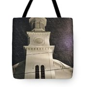 Steeple In A Snowstorm Tote Bag