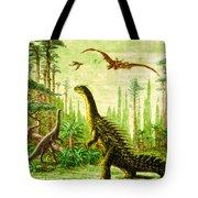 Stegosaurus And Compsognathus Dinosaurs Tote Bag