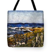 Steps To The Sea Abstract Tote Bag by Barbara Snyder