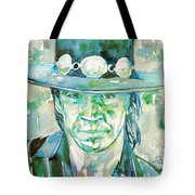 Stevie Ray Vaughan- Watercolor Portrait Tote Bag