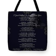Stevie Wonder Gold Scrolled Called To Say I Love You Tote Bag