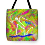 Stickman  Surfing  The  Colors Tote Bag