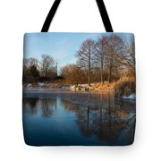 Still And Early - Icy Reflections With A Touch Of Snow Tote Bag