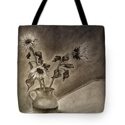 Still Life Ceramic Pitcher With Three Sunflowers Tote Bag