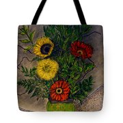 Still Life Ceramic Vase With Two Gerbera Daisy And Two Sunflowers Tote Bag