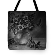 Still Life Clay Pitcher With 13 Daisies Tote Bag