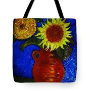 Still Life Clay Vase With Two Sunflowers Tote Bag