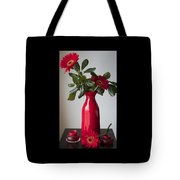 Still Life Flower Study In Red Tote Bag