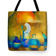 Still Life In Ocher And Blue Tote Bag