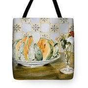 Still Life Of A Melon And A Vase Of Flowers Tote Bag
