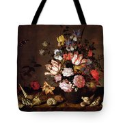 Still Life Of A Vase Of Flowers Tote Bag