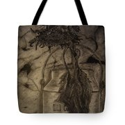 Still Life One Dried Sunflower In Metal Jug Tote Bag