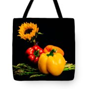 Still Life Peppers Asparagus Sunflower Tote Bag