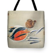 Still Life  Salmon Slices And Sardines Tote Bag