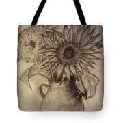 Still Life Two Sunflowers In A Clay Vase Tote Bag