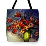 Still Life Vase With 21 Orange Tulips Tote Bag