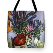 Still Life With A Vase Of Flowers Tote Bag by Ernst Ludwig Kirchner