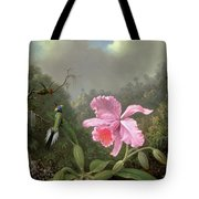 Still Life With An Orchid And A Pair Of Hummingbirds Tote Bag by Martin Johnson Heade