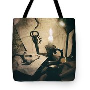 Still Life With Bones Rusty Key Wine Glass Lit Candle And Papers Tote Bag
