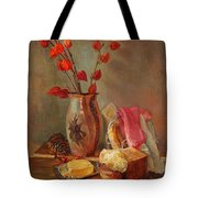 Still-life With Fresh Bread And A Knife Tote Bag