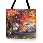 Still Life With Fruits And Vase And Dry Branches Tote Bag