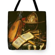 Still Life With Musical Instruments Oil On Canvas Tote Bag