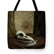 Still Life With Old Books Rusty Key Bird Skull And Feathers Tote Bag