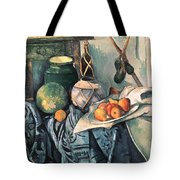 Still Life With Pitcher And Aubergines Oil On Canvas Tote Bag