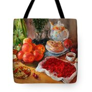 Still Life With Raspberries And Apples Tote Bag