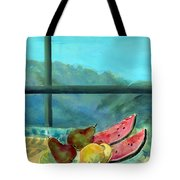 Still Life With Watermelon Oil & Acrylic On Canvas Tote Bag