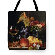 Still Life With Wine Glass And Silver Tazz Tote Bag by Edward Ladell