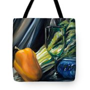 Still Life With Yellow Pepper Bok Choy Glass And Dish Tote Bag