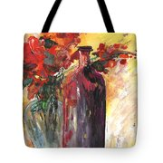 Still Live With Flowers Vase And Black Bottle Tote Bag