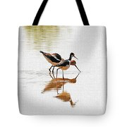 Stilt And Avocet Eat Together Tote Bag