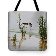 Stilts Hunting And Pecking Tote Bag