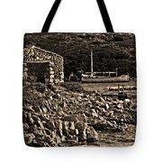 Roman Port Of Sa Nitja In Minorca - Stone And Sea Sephia Version Tote Bag