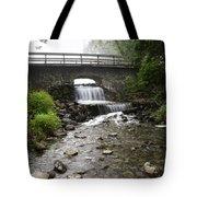 Stone Bridge Over Small Waterfall Tote Bag