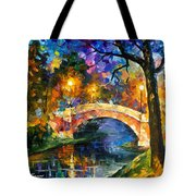 Stone Bridge - Palette Knife Oil Painting On Canvas By Leonid Afremov Tote Bag
