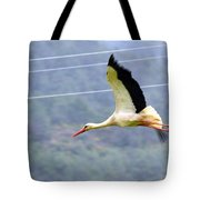 Stork In Flight Tote Bag