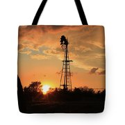 Storm Cloud's With Windmill Sillhouette Tote Bag by Robert D  Brozek
