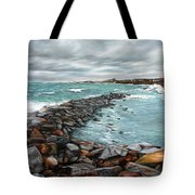 Storm In Rockport Harbor Tote Bag