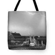 Storm On The Farm In Black And White Tote Bag