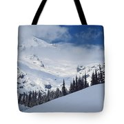 Storm Over The Summit Tote Bag